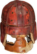 Football Collectibles:Helmets, Late 1920's Executioner Style Leather Football Helmet....
