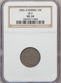 Early Dimes, 1805 10C 4 Berries VG10 NGC. JR-2. NGC Census: (7/228). PCGSPopulation (8/287). Mintage: 120,780. Numismedia Wsl. Price fo...