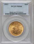 Indian Eagles: , 1911 $10 MS64 PCGS. PCGS Population (514/91). NGC Census:(878/218). Mintage: 505,595. Numismedia Wsl. Price for problemfr...
