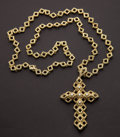 Estate Jewelry:Necklaces, Exceptional Tiffany & Co. Gold & Diamond Cross Necklace....