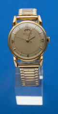 Timepieces:Wristwatch, LeCoultre 14k Gold Automatic Wristwatch With Wind Indicator ForRepair. ...