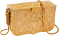 Luxury Accessories:Bags, Judith Leiber Gold Early Design Intricate Box Evening Bag. ...