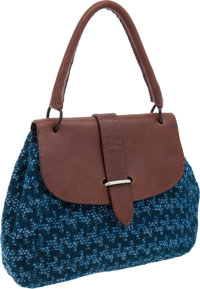Heritage Vintage: Marni Special Blue & Green Brocade Woven Fabric Bag with Dark Brown Natural Leather T