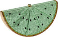 Luxury Accessories:Bags, Judith Leiber Beaded Green Watermelon Slice Minaudiere Evening Bag....