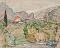 Impressionism & Modernism:post-Impressionism, ACHILLE EMILE OTHON FRIESZ (French, 1879-1949). Valley of theMeuse, 1925. Watercolor on paper. 12-1/2 x 16-1/4 inches (...
