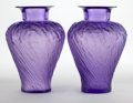 Art Glass:Lalique, PAIR OF LALIQUE LAVENDER GLASS LAVANDE VASES . Circa 2000.Engraved: Lalique, France . 12 inches high (30.5 ... (Total:2 Items)