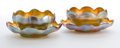 Art Glass:Tiffany , PAIR OF TIFFANY STUDIOS FAVRILE GLASS FINGER BOWLS AND UNDERPLATES. Gold Favrile glass finger bowls and underplates with ru...(Total: 4 Items)