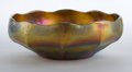 Art Glass:Tiffany , TIFFANY STUDIOS FAVRILE GLASS FRUIT BOWL . Gold Favrile glass fruitbowl with ruffled rim and ribs, circa 1900. Engraved: ...