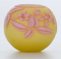 Art Glass:Webb, THOMAS WEBB GLASS CABINET VASE . Yellow glass vase with pink and red cameo overlay etched in dogwood motif, circa 1900. 2-1/...