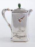 Silver & Vertu:Hollowware, A TIFFANY & CO. SMALL SILVER AND MIXED METAL COFFEE POT . Tiffany & Co., New York, New York, circa 1877. Marks: TIFFANY & ...