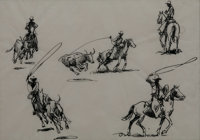 EDWARD BOREIN (American, 1873-1945) Pair of sketches: Five Riders and Ropers, Five Cowboys Pen and i