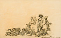 EDWARD BOREIN (American, 1873-1945) The Pottery Vendor Pen and ink on tracing paper 7-1/2 x 12 in