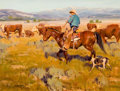 Paintings, JIM NORTON (American, b. 1953). Checking the Herd, 1988. Oil on masonite. 12 x 16 inches (30.5 x 40.6 cm). Signed lower ...