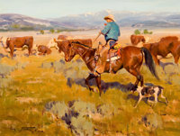 JIM NORTON (American, b. 1953) Checking the Herd, 1988 Oil on masonite 12 x 16 inches (30.5 x 40