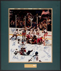 """Hockey Collectibles:Photos, Oversized 1980 USA Olympic Hockey """"Miracle on Ice"""" Team SignedPhotograph With Herb Brooks. ..."""