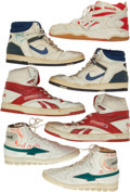 Basketball Collectibles:Others, 1980/90's NBA Game Worn, Signed Basketball Shoes Lot....