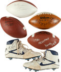 Football Collectibles:Others, Football Stars Signed Shoes and Balls Lot....