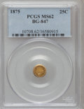 California Fractional Gold: , 1875 25C Indian Round 25 Cents, BG-847, R.4, MS62 PCGS. PCGSPopulation (16/48). NGC Census: (2/7). (#10708)...