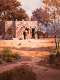 JACK SORENSON (American, b. 1955) The Mystery at Rosa's Cantina Oil on canvas 48 x 36 inches (121