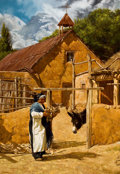 Paintings, DAN T. BODELSON (American, b. 1949). Wood for the Cooking Fire. Oil on canvas. 40 x 28 inches (101.6 x 71.1 cm). Signed ...