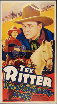 "Sing, Cowboy, Sing (Grand National, 1937). Three Sheet (41"" X 81""). Western"