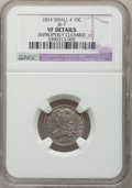 Bust Dimes, 1834 10C Small 4--Improperly Cleaned--NGC Details. VF. JR-7. NGCCensus: (2/275). PCGS Population (0/178). Mintage: 635,000...
