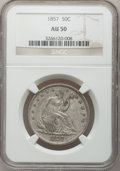 Seated Half Dollars: , 1857 50C AU50 NGC. NGC Census: (11/129). PCGS Population (24/98).Mintage: 1,988,000. Numismedia Wsl. Price for problem fre...
