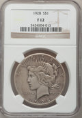 Peace Dollars: , 1928 $1 Fine 12 NGC. NGC Census: (6/5085). PCGS Population(3/7385). Mintage: 360,649. Numismedia Wsl. Price for problem fr...