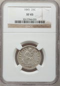 Seated Quarters: , 1845 25C XF45 NGC. NGC Census: (4/87). PCGS Population (5/76).Mintage: 922,000. Numismedia Wsl. Price for problem free NGC...