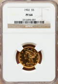 Proof Liberty Half Eagles: , 1902 $5 PR64 NGC. NGC Census: (6/4). PCGS Population (9/2).Mintage: 162. Numismedia Wsl. Price for problem free NGC/PCGS c...