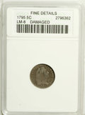 Early Half Dimes: , 1795 H10C --Damaged--ANACS. Fine 12 Details. V-5, LM-8, R.3.Significantly worn with dove-gray devices and slate-gray fields...
