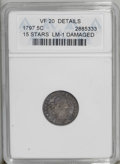 Early Half Dimes: , 1797 H10C 15 Stars--Damaged--ANACS. VF20 Details. V-2, LM-1, R.3.Moderately worn with pleasing peach and violet patina. Se...