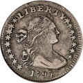 Early Half Dimes: , 1797 H10C 15 Stars--Scratched--ANACS. XF40 Details. V-2, LM-1, R.3.Light silver-gray surfaces are appealing, with some old...