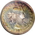 Early Half Dimes: , 1797 H10C 15 Stars AU58 NGC. V-2, LM-1, R.3. The 7s in the date areequal in size, and the 1 in the date is connected to th...