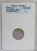Early Half Dimes: , 1797 H10C 16 Stars--Scratched--ANACS. Fine 12 Details. V-4, LM-2,R.4. Deep gunmetal-gray and golden-brown shades embrace t...