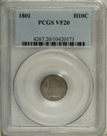 Early Half Dimes: , 1801 H10C VF20 PCGS. V-2, R.5. The rarer of two varieties for thisissue, represented here by a heavily toned and moderatel...