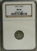 Seated Half Dimes: , 1873 H10C MS66 NGC. Rich aquamarine and mauve toning graces thisunabraded and thoroughly lustrous Premium Gem. Well struck...