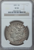 Morgan Dollars: , 1899 $1 VF35 NGC. NGC Census: (7/7480). PCGS Population (23/10074).Mintage: 330,846. Numismedia Wsl. Price for problem fre...