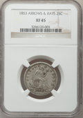 Seated Quarters: , 1853 25C Arrows and Rays XF45 NGC. NGC Census: (84/662). PCGSPopulation (125/659). Mintage: 15,210,020. Numismedia Wsl. Pr...