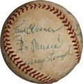 Autographs:Baseballs, Circa 1950 Multi-Signed Baseball with Hornsby, Paul Waner....