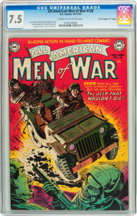 "All-American Men of War #128 Davis Crippen (""D"" Copy) pedigree (DC, 1952) CGC VF- 7.5 Cream to off-white pages..."