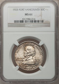 Commemorative Silver: , 1925 50C Vancouver MS61 NGC. NGC Census: (15/2002). PCGS Population(25/2840). Mintage: 14,994. Numismedia Wsl. Price for p...