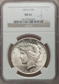 Peace Dollars: , 1926-S $1 MS61 NGC. NGC Census: (187/4051). PCGS Population(141/5613). Mintage: 6,980,000. Numismedia Wsl. Price for probl...