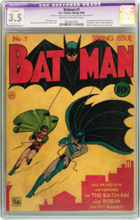 Batman #1 (DC, 1940) CGC Apparent VG- 3.5 Extensive (P) Cream to off-white pages