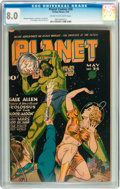 Golden Age (1938-1955):Science Fiction, Planet Comics #36 (Fiction House, 1945) CGC VF 8.0 Cream tooff-white pages....
