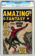 Silver Age (1956-1969):Superhero, Amazing Fantasy #15 (Marvel, 1962) CGC FN+ 6.5 Off-white pages....