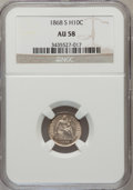 Seated Half Dimes: , 1868-S H10C AU58 NGC. NGC Census: (25/100). PCGS Population(13/65). Mintage: 280,000. Numismedia Wsl. Price for problem fr...