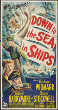 """Movie Posters:Adventure, Down to the Sea in Ships (20th Century Fox, 1949). Three Sheet (41""""X 81""""). Adventure.. ..."""