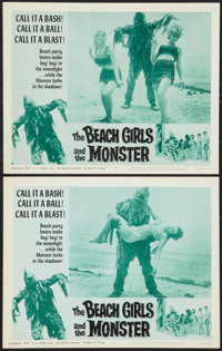 """The Beach Girls and the Monster (U.S. Films Inc., 1965). Lobby Cards (2) (11"""" X 14""""). Horror. ... (Total: 2 It..."""