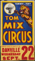 "Movie Posters:Western, Tom Mix Circus Poster (Tom Mix, 1937). Poster (20"" X 35.5""). Circus.. ..."